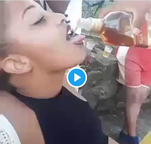 Watch As Slay-queen Left Fighting For Life After Taking Down A Whole Bottle Of Alcohol 2