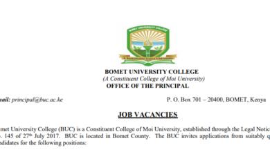 Photo of 54 Vacancies Open At Bomet University College (BUC)