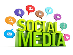 Social media text and icons on speech balloons isolated on white background