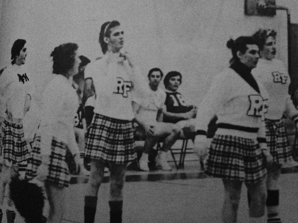 The boys of RFH's cheerleading squad for the Student-Faculty Basketball Game in 1976. Photo/RFH yearbook screenshot