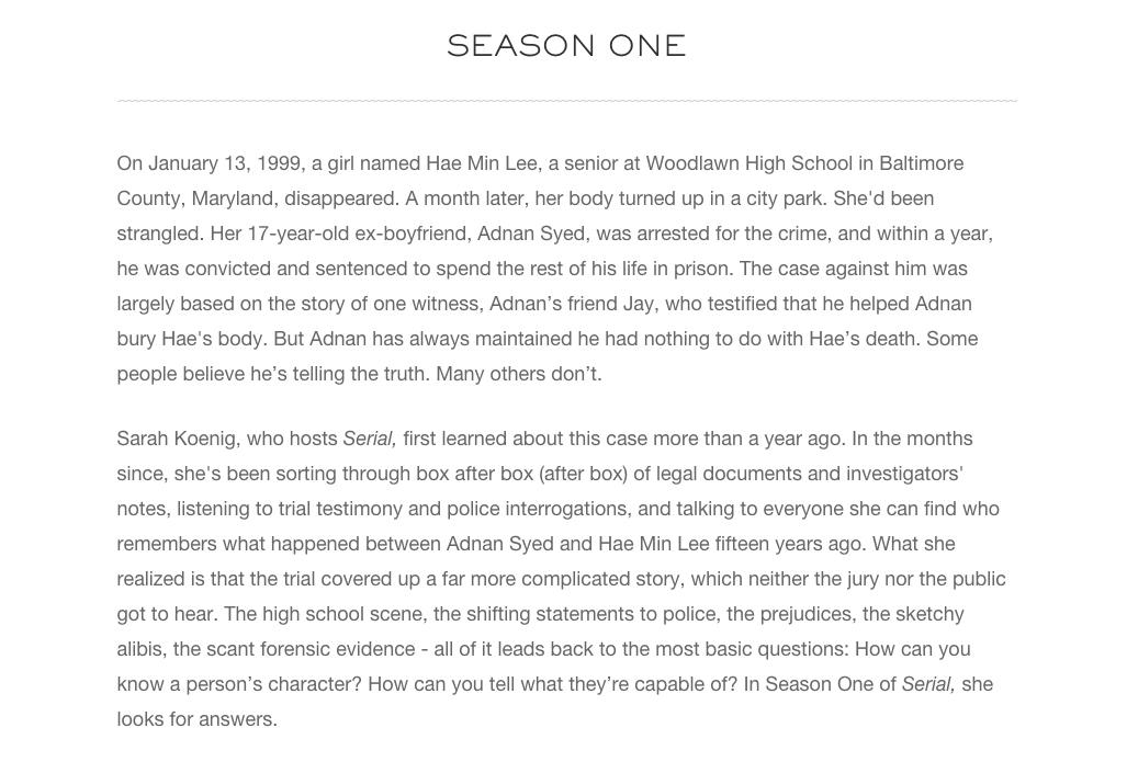 Serial season one