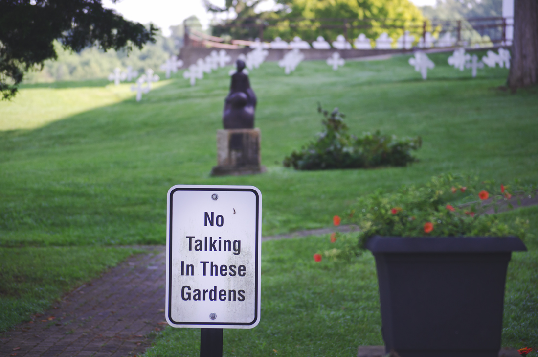 No talking in these gardens