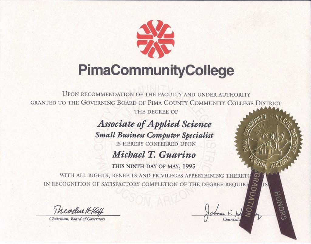 Pima Community College Certificate