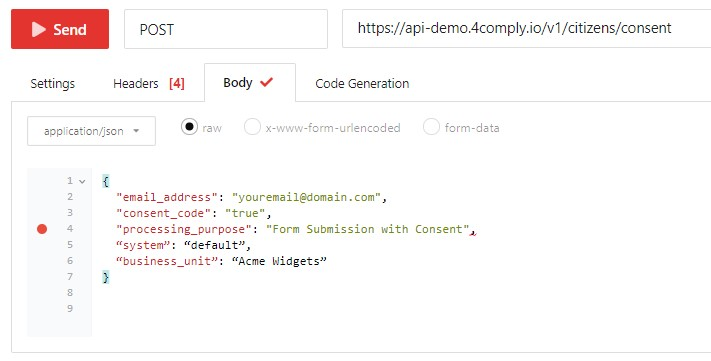 comply add consent test request body