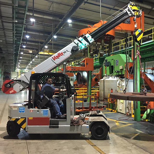 Manitex Valla 90E used daily for tire manufacturing and MRO.