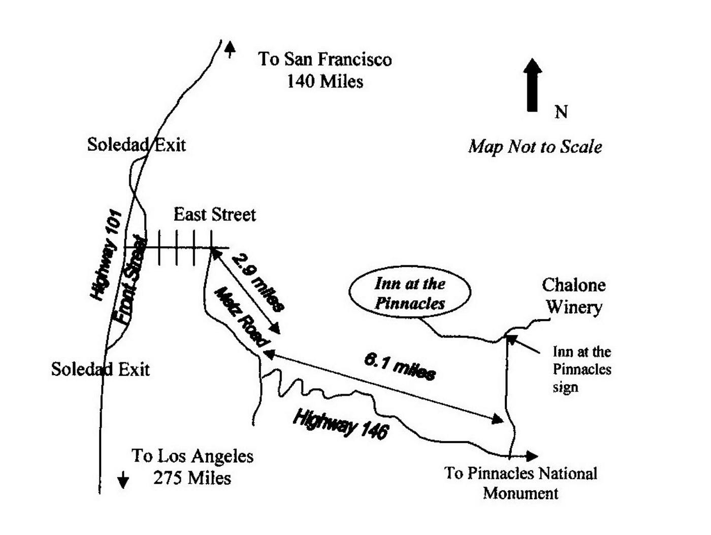Soledad California Map and directions | Inn at the Pinnacles