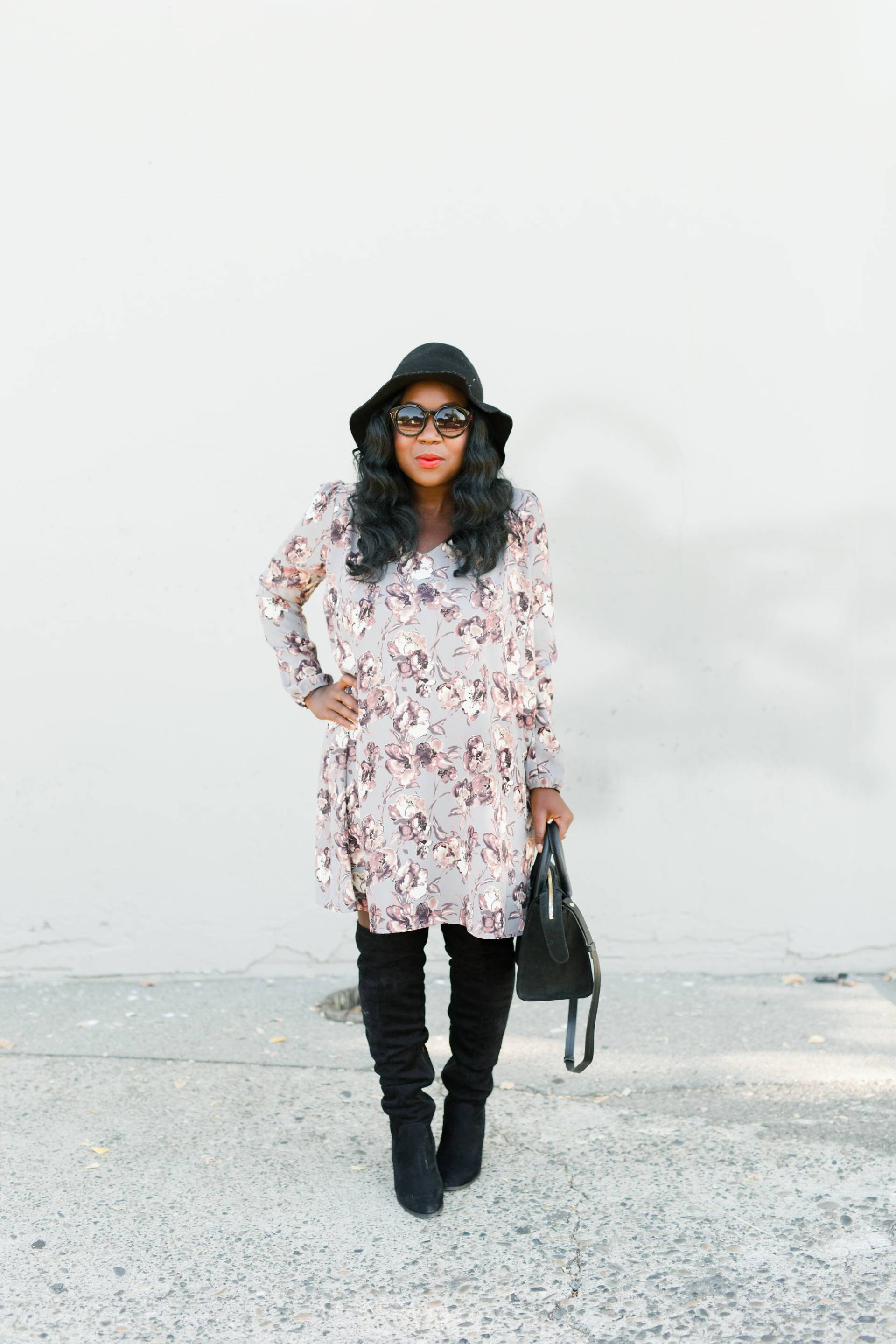 shift-dress- over the knee boots