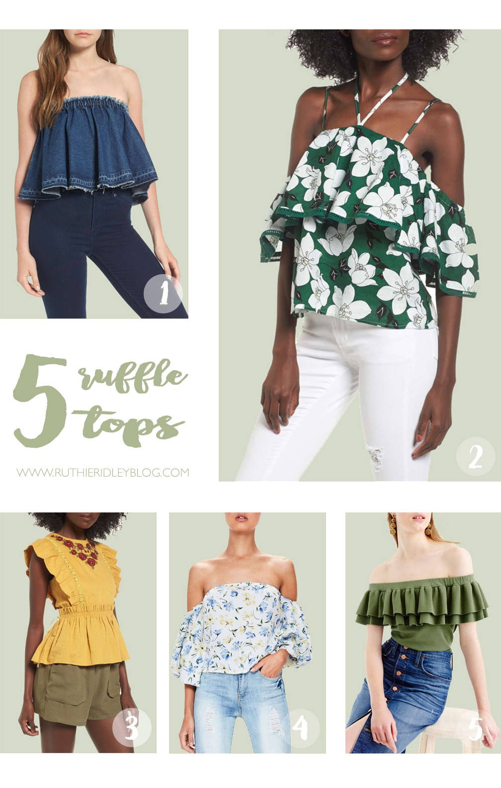 Adding a little, ruffle, color or studs to any top or denim, will make a statement! Check out my favorite tops and denim skirts!!