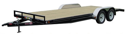 Rent our 20', 7,000 pound, wood flatbed trailer.