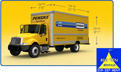 22 foot Penske moving trucks are rented here.