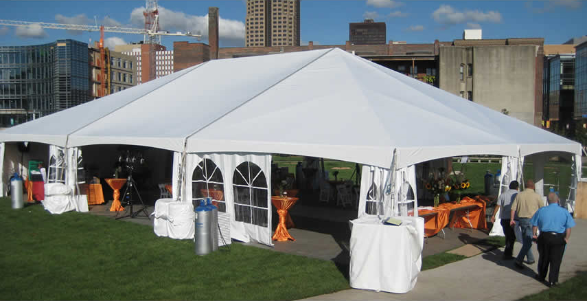 40' x 60' Hybrid event tent with French side walls pulled back.