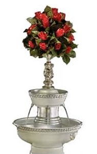 """Picture of our 5 gallon Apex white dove champagne fountain that is 31"""" tall. (Floral arrangement not included)"""