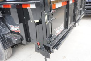 Back doors on the 6' x 12' Tandem Axle Dump Trailer for rent [5970]