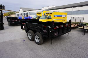 Back end of the 6' x 12' Tandem Axle Dump Trailer for rent [5970]