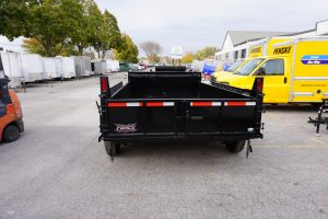 Back of 6' x 12' Tandem Axle Dump Trailer for rent [5970]