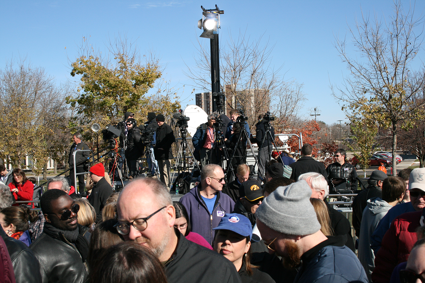 Front of Two Tiered Press Riser at political rally with Bill Clinton.
