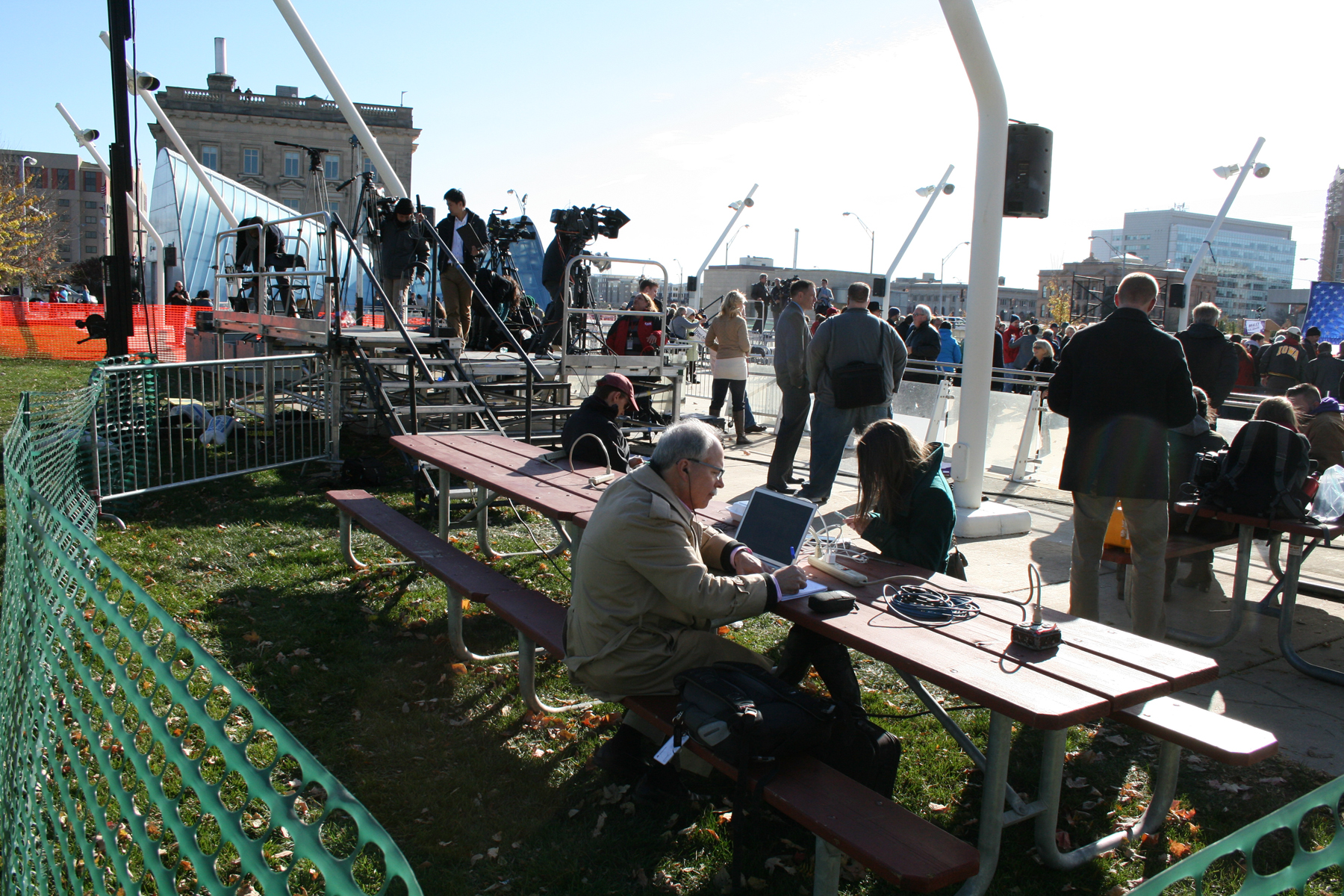 Left of Press Riser with picnic benchs for reporters.
