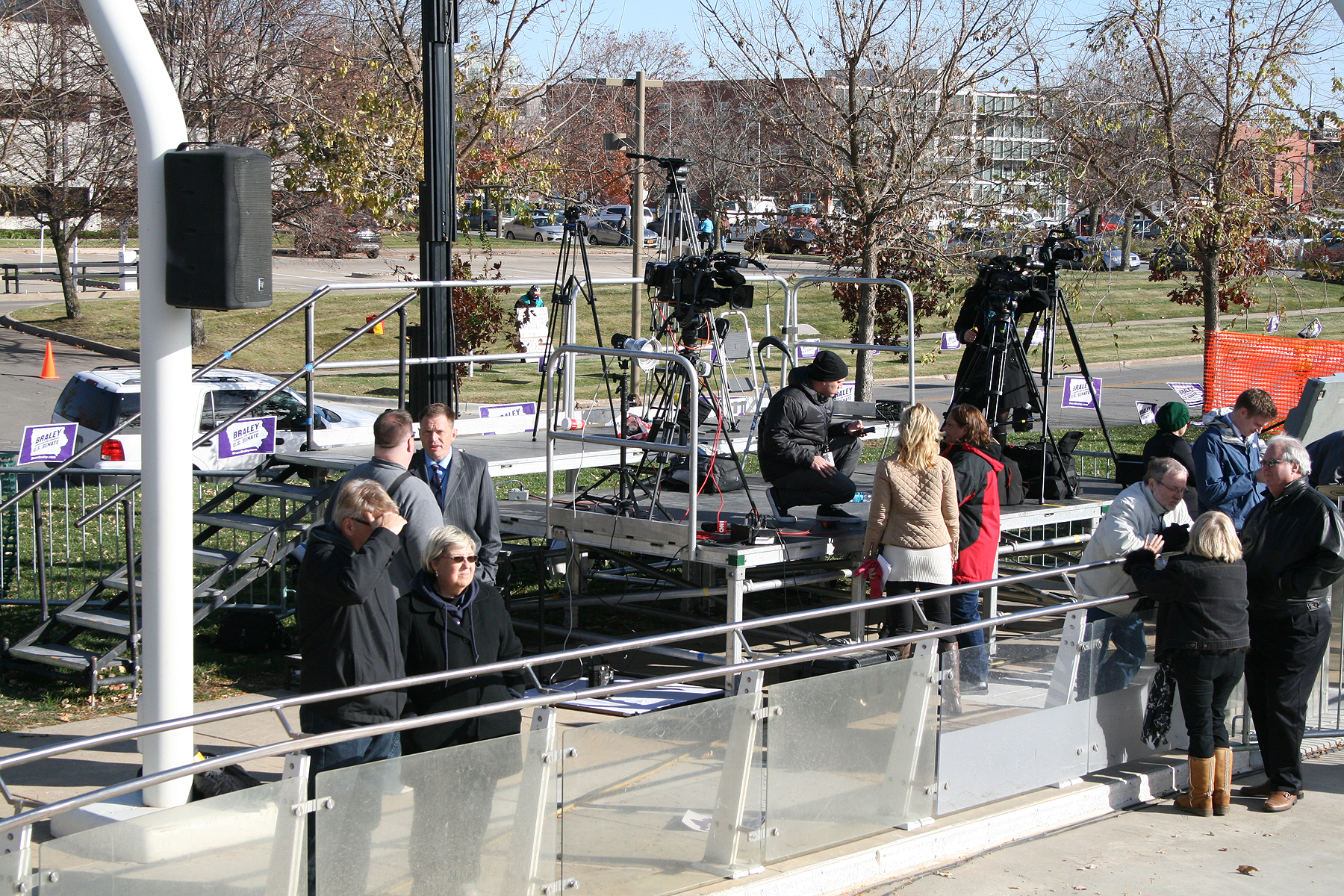 Press Risers at Political event.