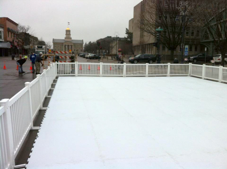Synthetic Ice Skating Rink set-up in downtown Iowa City