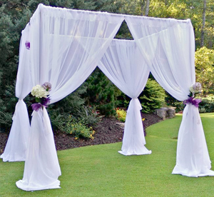 White sheer event draping rental
