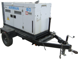 Airman 60 trailerable generator for rent.