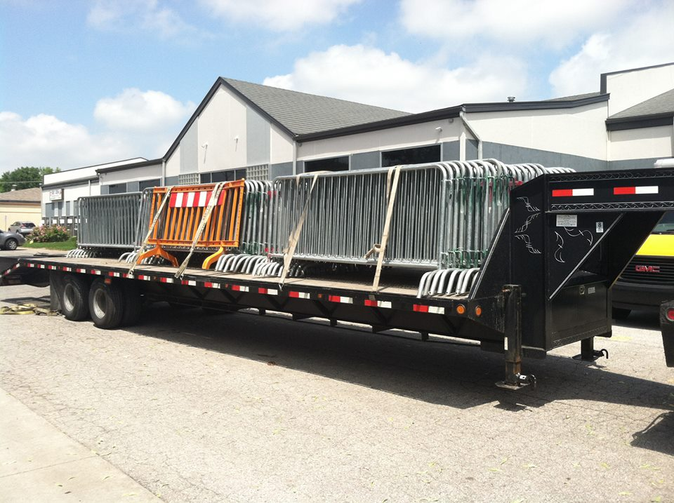 Galvanized bike rack barricades loaded for delivery.
