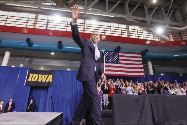 President Barack Obama photographed in front of Big Ten Rentals' Presidential Blue Velour on March 25, 2010 at the Field House. Photo Dredit: AP Photo/Charles Dharapak