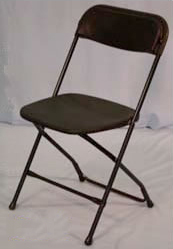 Picture of our standard black plastic folding chair available for rental.