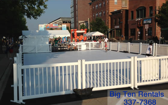 Rent our synthetic ice skating rink.