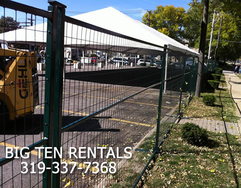 Temporary Security Fencing is 6′ high by 10′ long. This was installed at the Iowa City's northside Oktoberfest Beer Garden in 2011