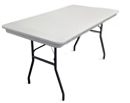 "6' x 30"" white plastic rectangular banquet table."