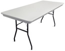 "8' x 30"" white plastic rectangular banquet table."