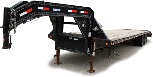 Right side by hitch of our Gooseneck flatbed trailer.