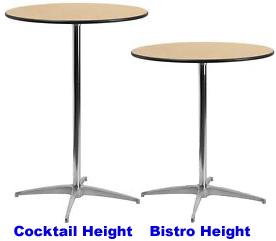 Round Cocktail vs. Bistro pedestal tables comparison.