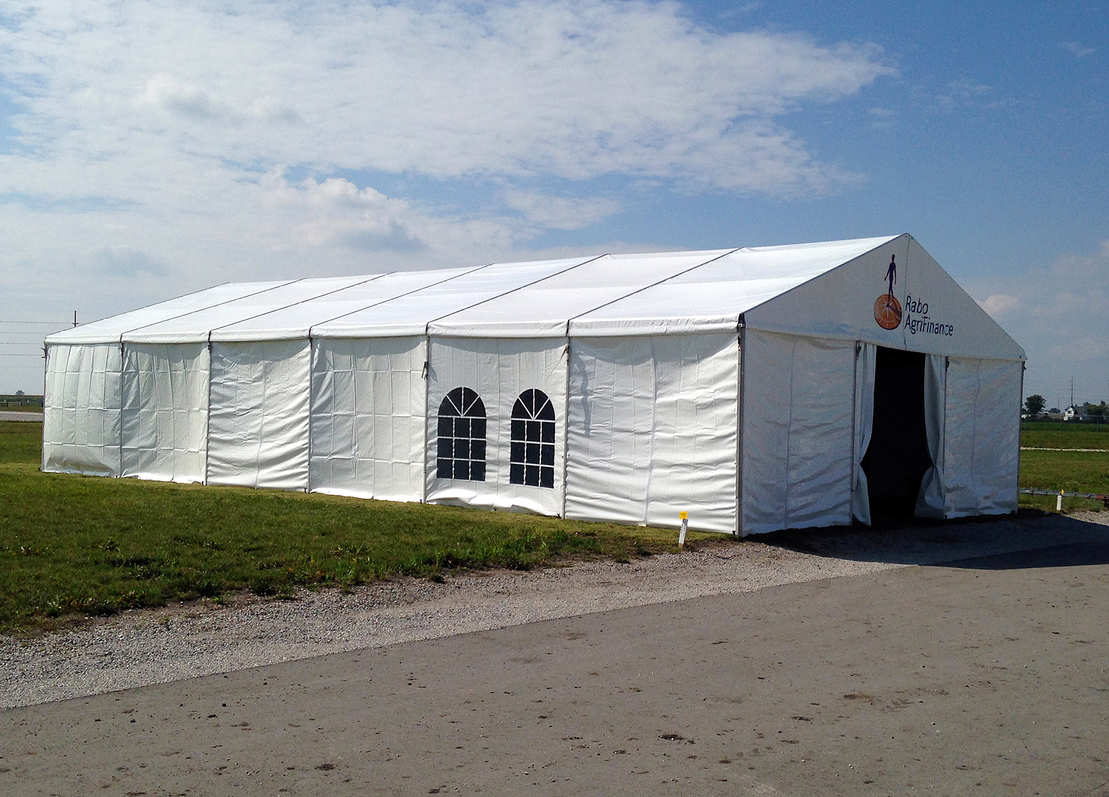 Outside the 30′ x 60′ (9m x 18m) Losberger clearspan temporary structure/tent.