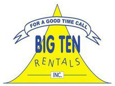 """Low resolution """"for a good time call Big Ten Rentals"""" logo."""
