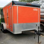 Front of our 7'x14' Orange and Black utility/motorcycle trailer.