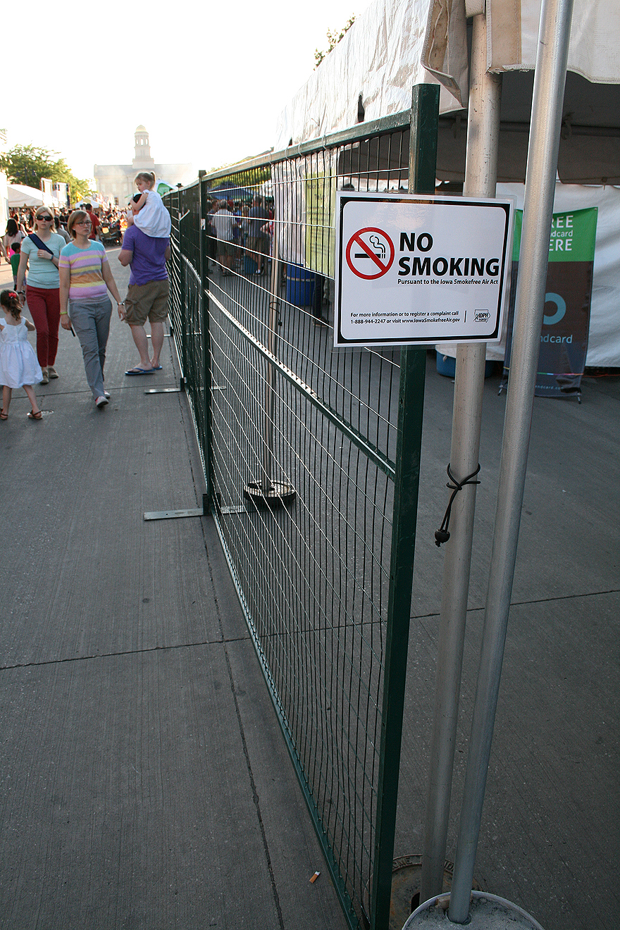 Temporary security fencing at the beer garden area of the Iowa Arts festival 2014.