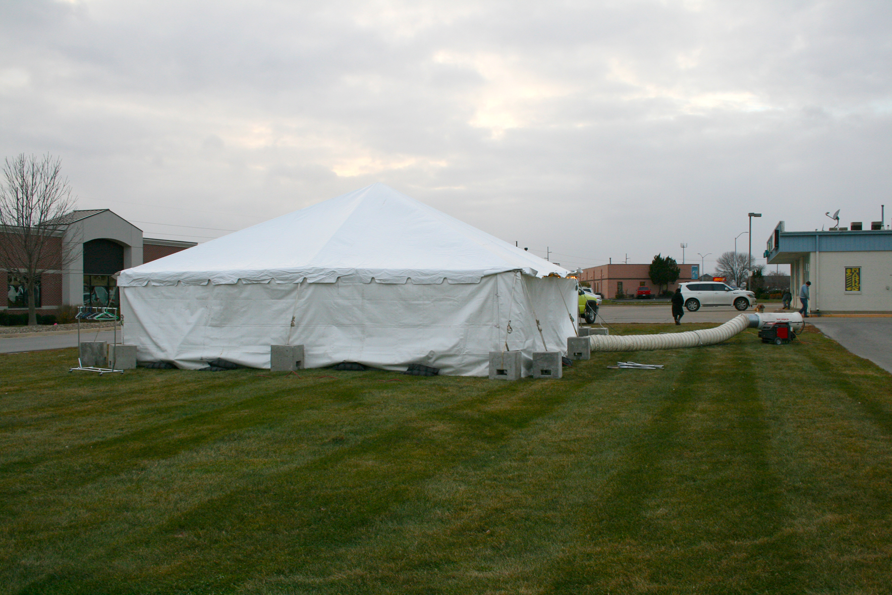Tent event held in cold weather with diesel tent heater