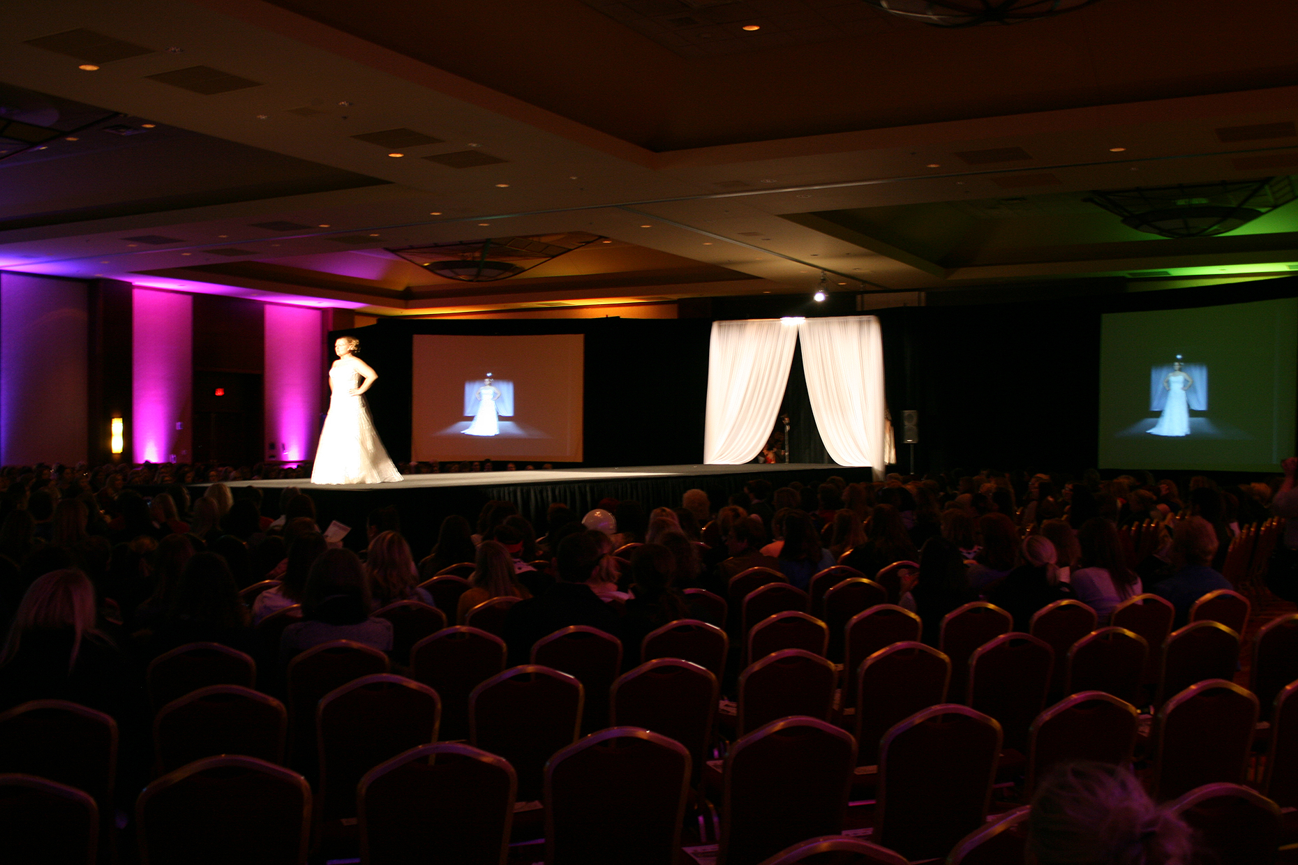 Female model on catwalk for Fashion Show at the Iowa Wedding Expo