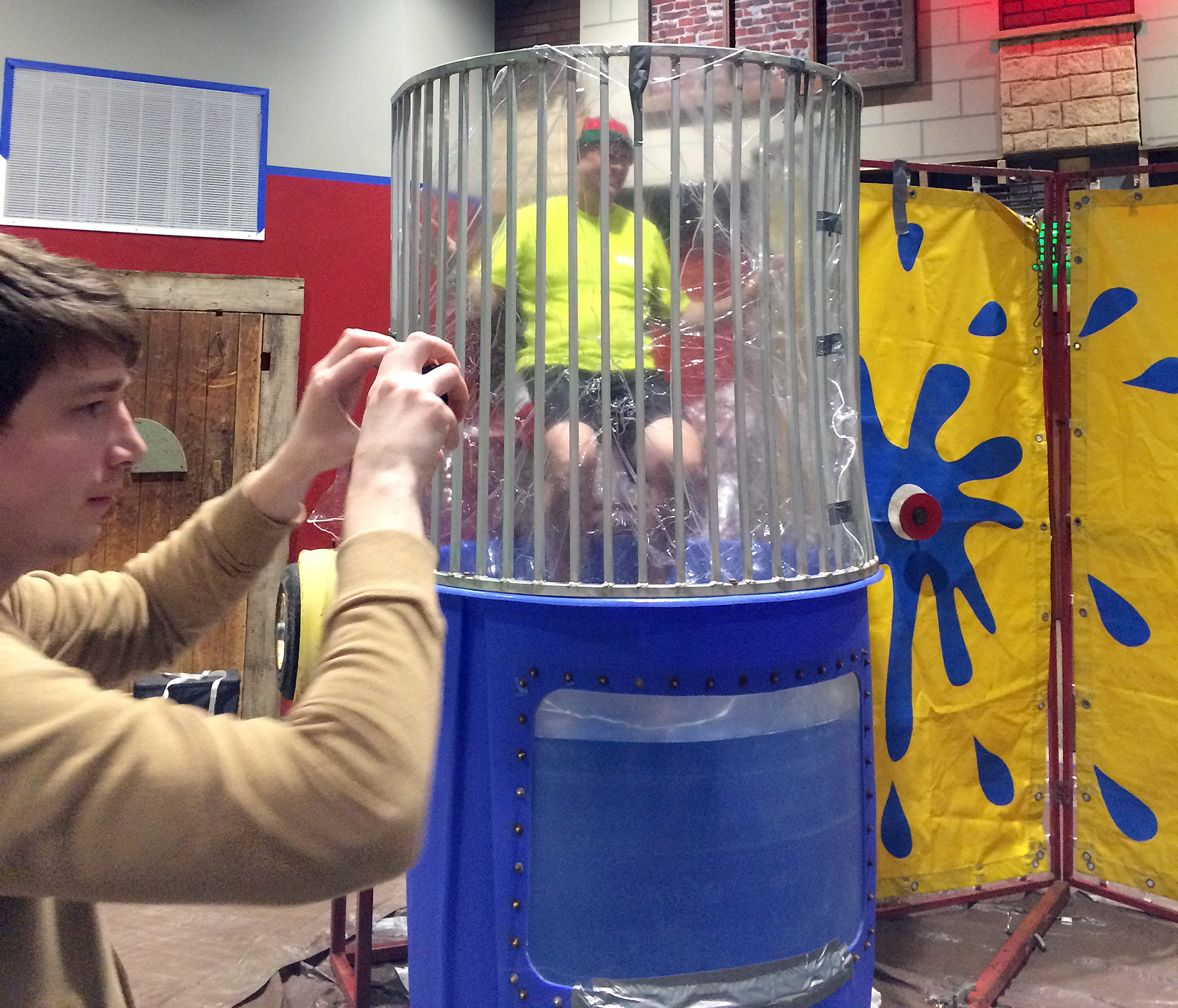 Pastor Mark Eades vs. dunk tank at New Covenant Bible Church