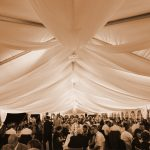 Sheer event ceiling draping rental in Iowa