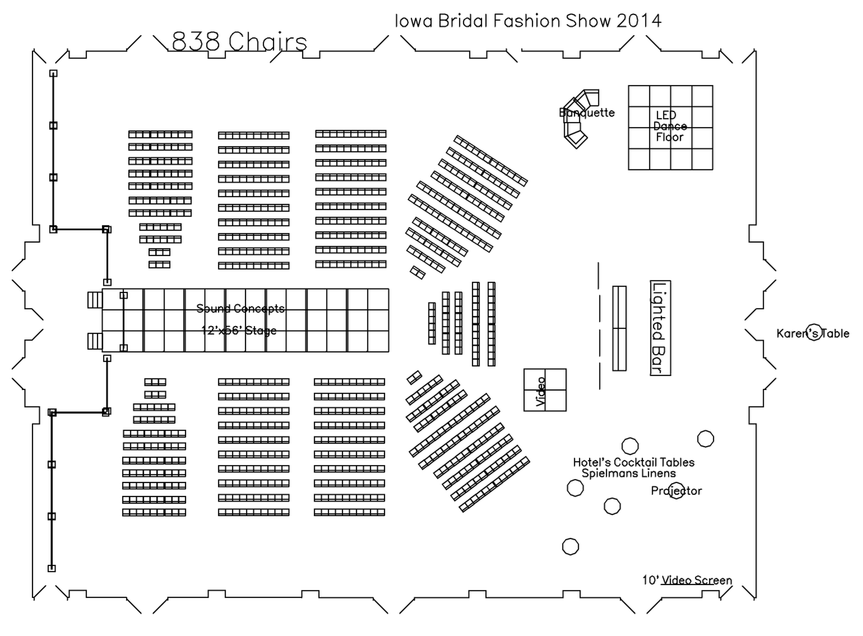 Bridal show runway with chairs