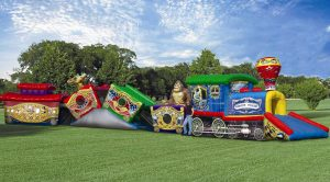 Circus train kiddie crawl-through obstacle course rental Iowa