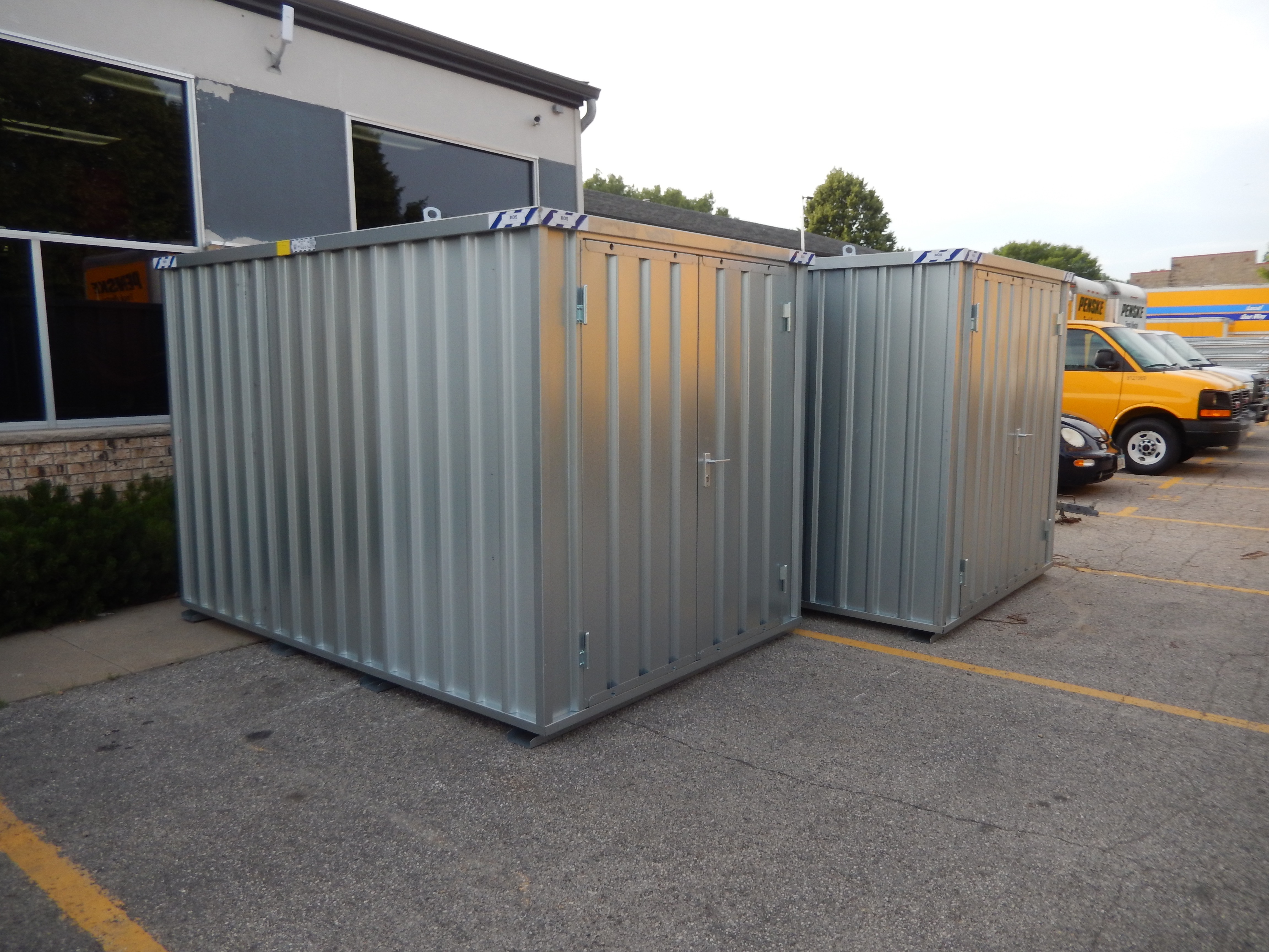 Portable temporary steel storage shed rental