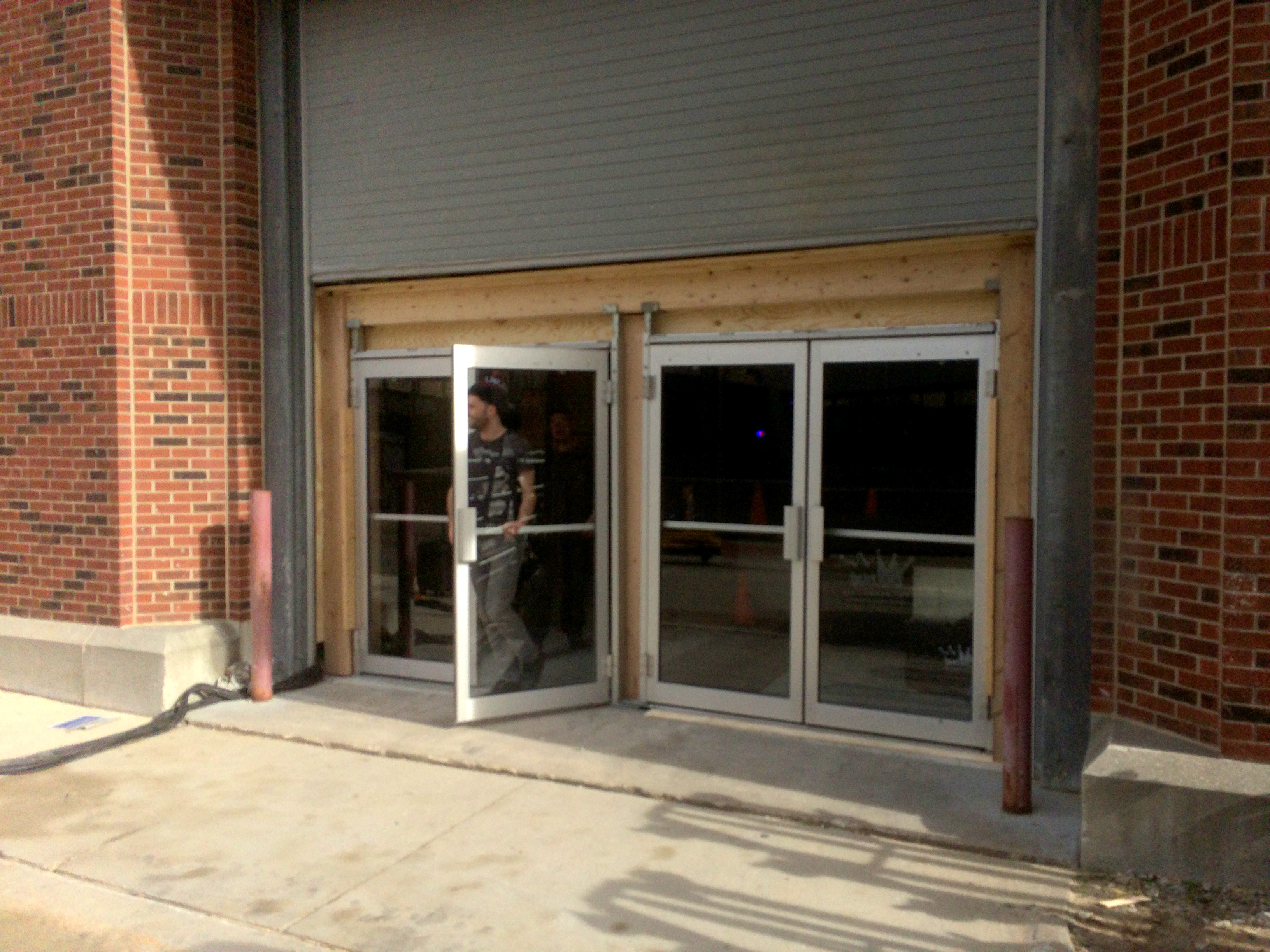 Finished double glass door fire exits to Increase event hall capacity