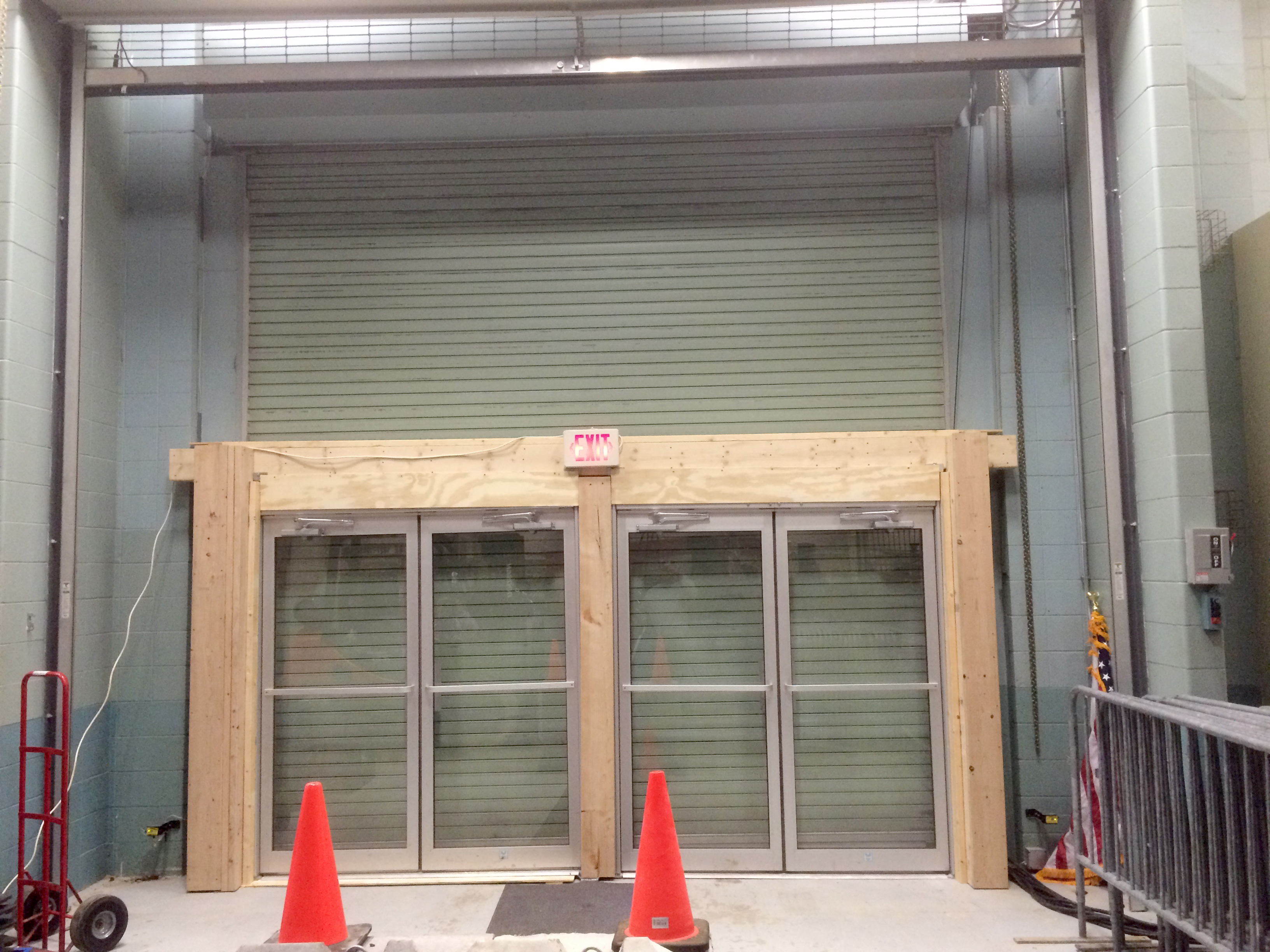 Temporary double glass door fire exits to increase event hall capacity