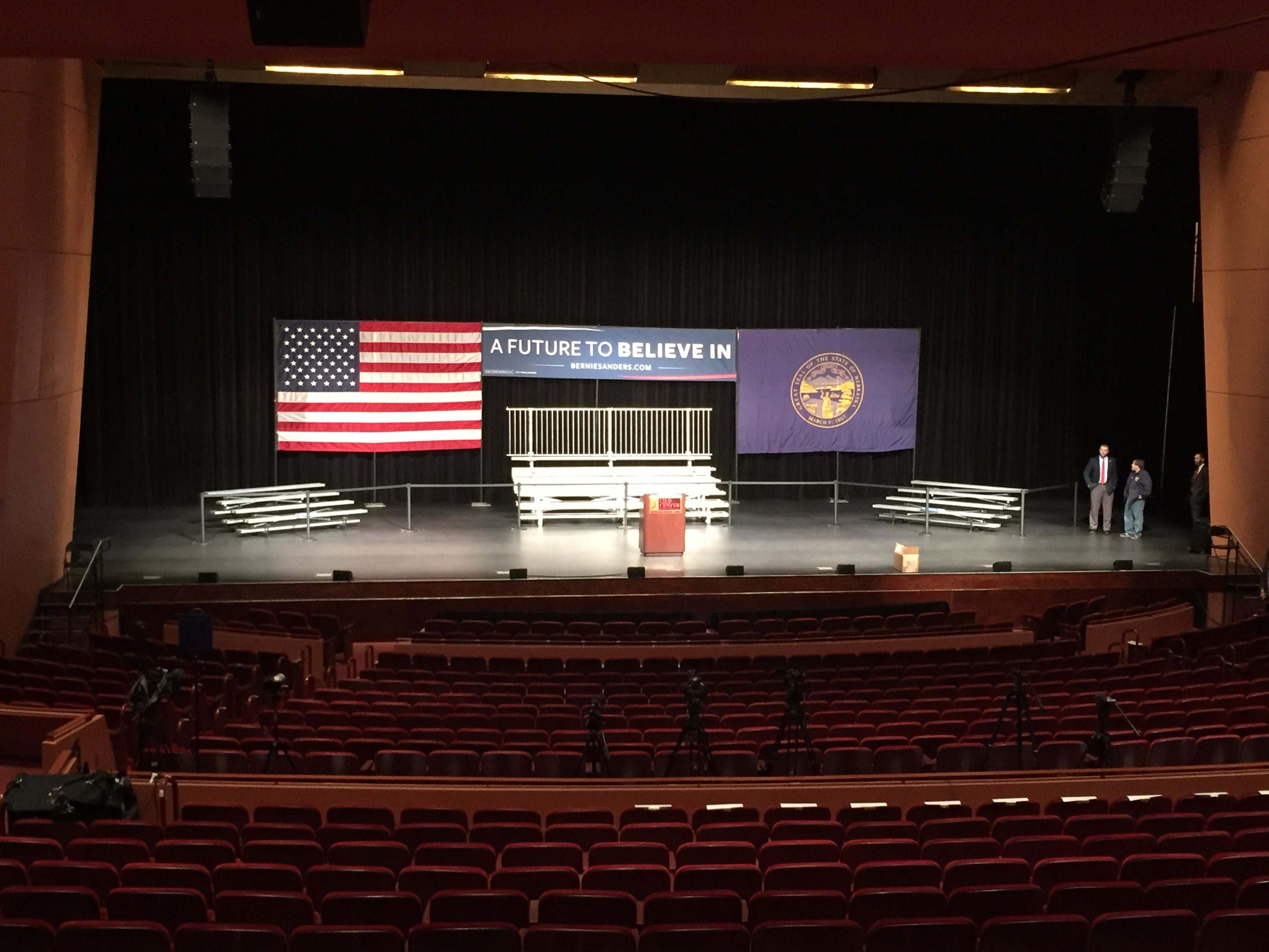 Last minute political event setup in Lincoln Nebraska for Bernie Sanders