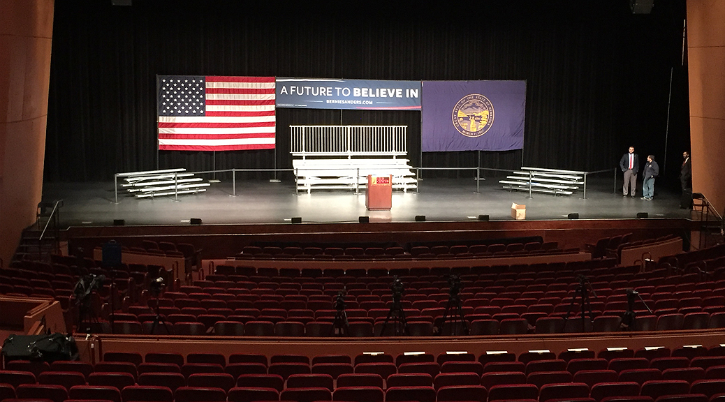 Last minute political event setup in Lincoln, Nebraska