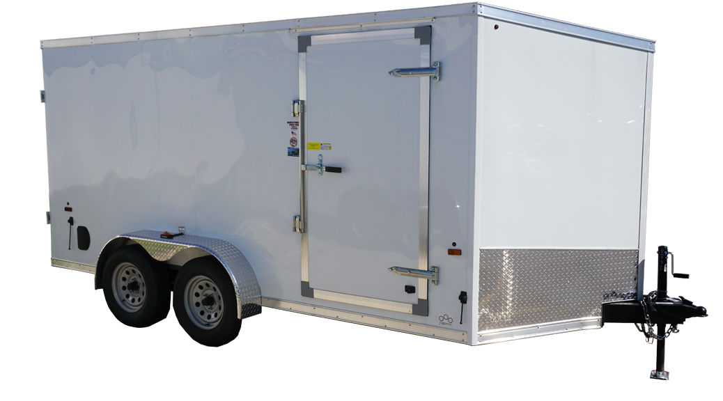 7'x14' white tandem enclosed trailer for rent or sale [sn2432]